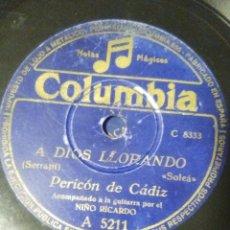 Discos de pizarra: DISCO DE PIZARRA DE FLAMENCO PERICÓN DE CÁDIZ CON EL NIÑO RICARDO LA GUITARRA TE COMPRASTE UN VESTID. Lote 53442227