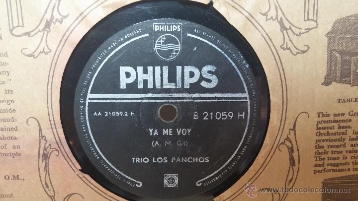 Discos de pizarra: Disco de pizarra antiguo, TRIO LOS PANCHOS... ya me voy, y Mar y cielo - Foto 6 - 53520086