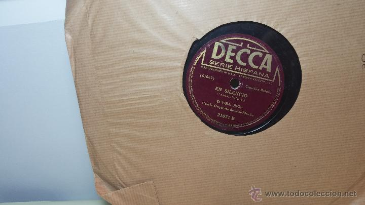 DISCO DE PIZARRA ANTIGUO, ELVIRA RIOS.... EN SILENCIO Y VOLVERÁS (Música - Discos - Pizarra - Flamenco, Canción española y Cuplé)