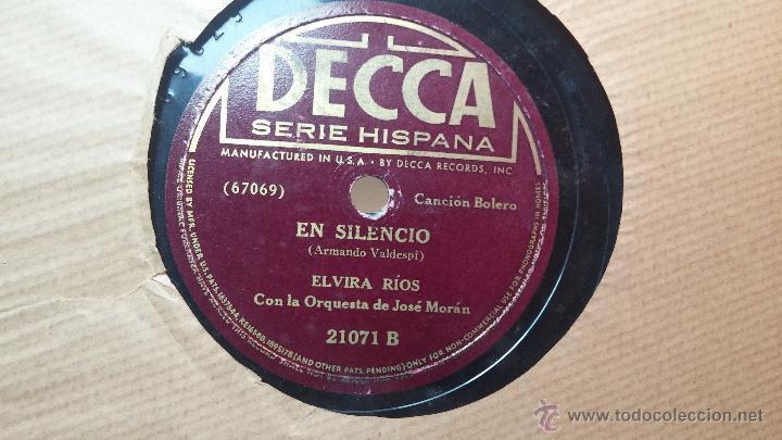 Discos de pizarra: Disco de pizarra antiguo, ELVIRA RIOS.... En silencio y Volverás - Foto 2 - 53520297
