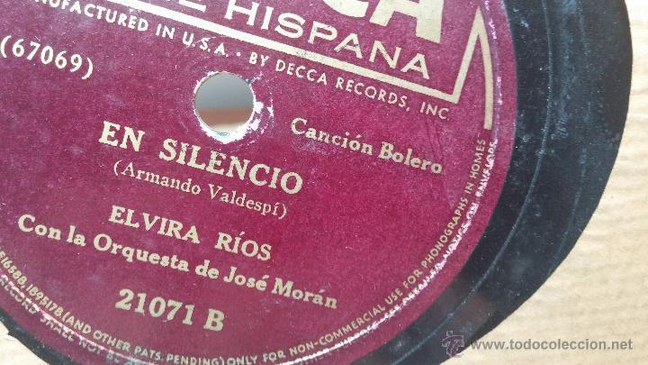 Discos de pizarra: Disco de pizarra antiguo, ELVIRA RIOS.... En silencio y Volverás - Foto 3 - 53520297