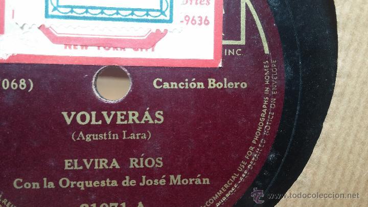 Discos de pizarra: Disco de pizarra antiguo, ELVIRA RIOS.... En silencio y Volverás - Foto 4 - 53520297