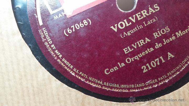 Discos de pizarra: Disco de pizarra antiguo, ELVIRA RIOS.... En silencio y Volverás - Foto 5 - 53520297