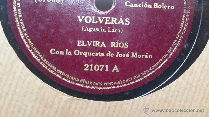 Discos de pizarra: Disco de pizarra antiguo, ELVIRA RIOS.... En silencio y Volverás - Foto 6 - 53520297