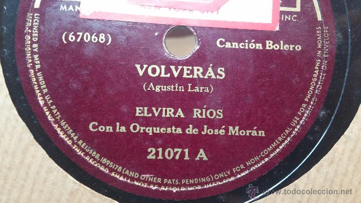 Discos de pizarra: Disco de pizarra antiguo, ELVIRA RIOS.... En silencio y Volverás - Foto 7 - 53520297