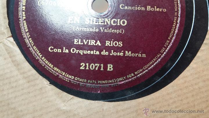 Discos de pizarra: Disco de pizarra antiguo, ELVIRA RIOS.... En silencio y Volverás - Foto 11 - 53520297