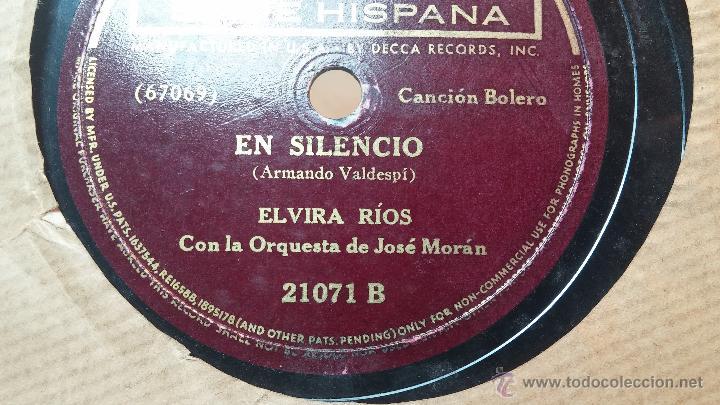 Discos de pizarra: Disco de pizarra antiguo, ELVIRA RIOS.... En silencio y Volverás - Foto 12 - 53520297
