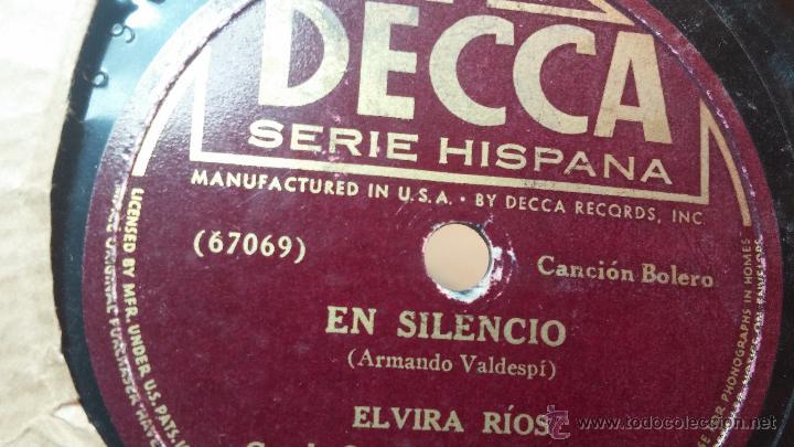Discos de pizarra: Disco de pizarra antiguo, ELVIRA RIOS.... En silencio y Volverás - Foto 13 - 53520297