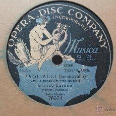 Discos de pizarra: DISCO DE PIZARRA ANTIGUO, ENRICO CARUSO.... PAGLIACCI, LEON CAVALLO. Lote 53521149
