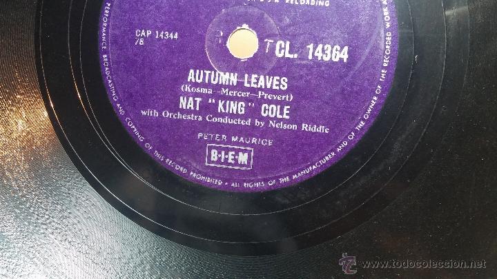 Discos de pizarra: Disco de pizarra antiguo, NAT KING COLE, un trozo del filo del disco está partido - Foto 6 - 53532018