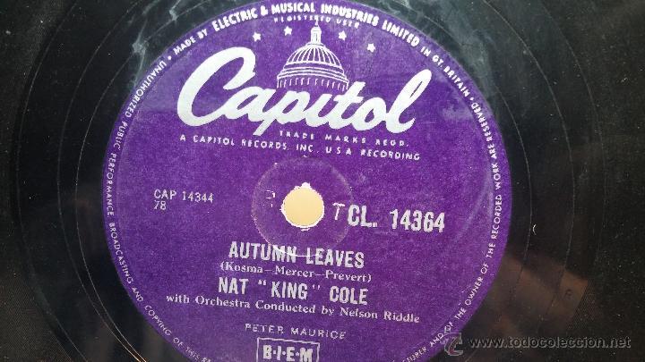 Discos de pizarra: Disco de pizarra antiguo, NAT KING COLE, un trozo del filo del disco está partido - Foto 7 - 53532018