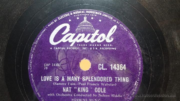 Discos de pizarra: Disco de pizarra antiguo, NAT KING COLE, un trozo del filo del disco está partido - Foto 8 - 53532018