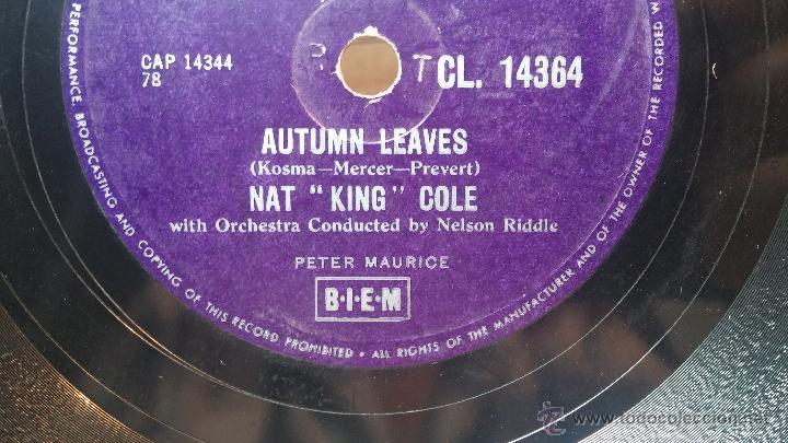 Discos de pizarra: Disco de pizarra antiguo, NAT KING COLE, un trozo del filo del disco está partido - Foto 11 - 53532018