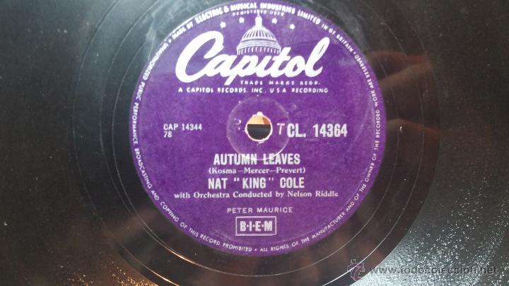 Discos de pizarra: Disco de pizarra antiguo, NAT KING COLE, un trozo del filo del disco está partido - Foto 14 - 53532018