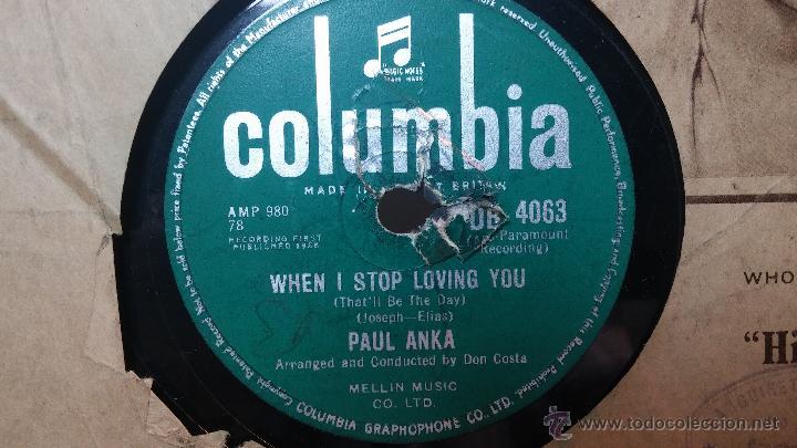 Discos de pizarra: Disco de pizarra antiguo, PAUL ANKA... hen i stop loving you - you are my destiny - Foto 5 - 53533410