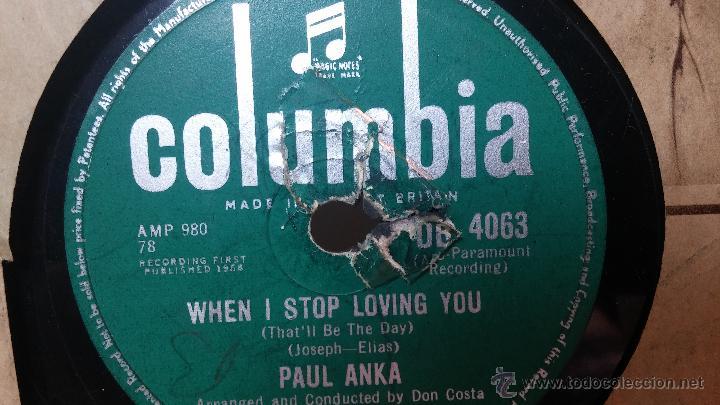 Discos de pizarra: Disco de pizarra antiguo, PAUL ANKA... hen i stop loving you - you are my destiny - Foto 6 - 53533410