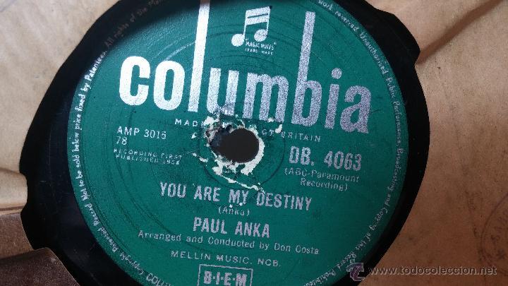 Discos de pizarra: Disco de pizarra antiguo, PAUL ANKA... hen i stop loving you - you are my destiny - Foto 7 - 53533410