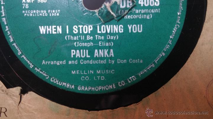 Discos de pizarra: Disco de pizarra antiguo, PAUL ANKA... hen i stop loving you - you are my destiny - Foto 8 - 53533410