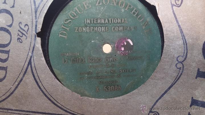 Discos de pizarra: Disco de pizarra antiguo, CUPLE... LA GATITA BLANCA, cantado por la Srta SOLER - Foto 2 - 53534370