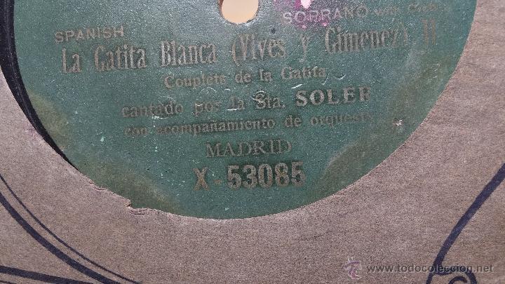 Discos de pizarra: Disco de pizarra antiguo, CUPLE... LA GATITA BLANCA, cantado por la Srta SOLER - Foto 4 - 53534370