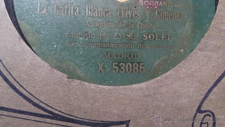 Discos de pizarra: Disco de pizarra antiguo, CUPLE... LA GATITA BLANCA, cantado por la Srta SOLER - Foto 5 - 53534370