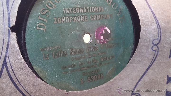 Discos de pizarra: Disco de pizarra antiguo, CUPLE... LA GATITA BLANCA, cantado por la Srta SOLER - Foto 6 - 53534370