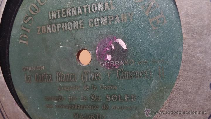 Discos de pizarra: Disco de pizarra antiguo, CUPLE... LA GATITA BLANCA, cantado por la Srta SOLER - Foto 7 - 53534370