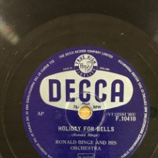 Discos de pizarra: RONALD BINGE. SEPTEMBER IN THE RAIN & HOLIDAY FOR BELLS. . Lote 53784497