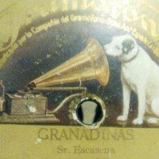 Discos de pizarra: DISCO DE ESCASENA DE GRAMÓFONO DEL AÑO 1907 GRANAÍNA Y MALAGUEÑA. Lote 53944042