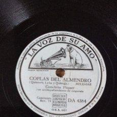 Discos de pizarra: DISCO PIZARRA 78 R.P.M. CONCHITA PIQUER Y ORQUESTA. LA VOZ DE SU AMO DA 4384. Lote 54008924