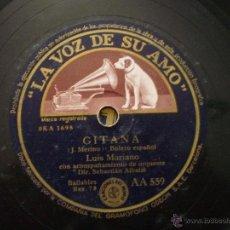 Discos de pizarra: LUIS MARIANO. GITANA + QUE VA. PEQUEÑA ROTURA EN BORDE, VER FOTO. Lote 206210685