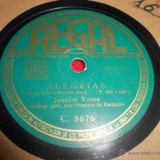 Discos de pizarra: JUANITO VAREA&MANOLO DE BADAJOZ ALEGRIAS.DE LA ISLA A PUERTO REAL/CONSUELO LA GRANAINA 25 CTMS R3287. Lote 54155901