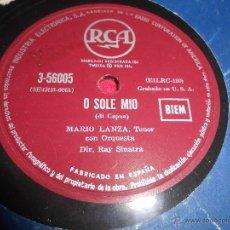 Discos de pizarra: MARIO LANZA O SOLE MIO/CORE INGRATO 25 CTMS RCA 3-56005 SPAIN ESPAÑA. Lote 54166930