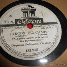 Discos de pizarra: ORQUESTA BOHEMIOS VIENESES CHICOS DEL CAMPO/LAS ULTIMAS GOTAS 25 CTMS ODEON 183.945 SPAIN ESPAÑA. Lote 54166957