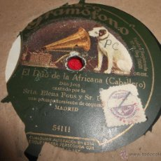 Discos de pizarra: SRTA.ELENA FONS Y SR.PARES EL DUO DE LA AFRICANA/SR.BEZARES LA DOLORES 25 CTMS 52374 SPAIN ESPAÑA. Lote 245920715