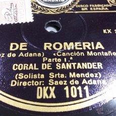 Discos de pizarra: DISCO DE PIZARRA CANCIÓN MONTAÑESA. Lote 54830019