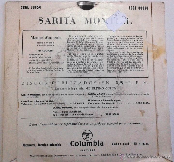 Discos de pizarra: Sarita Montiel. El último cuplé. - Foto 3 - 55026137
