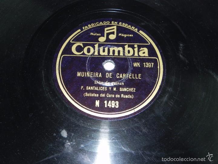 GALICIA, DUO DE GAITAS (SOLISTAS DEL CORO DE RUADA) F. SANTALICES Y M. SANCHEZ, MUIÑEIRA DE CARTELLE (Música - Discos - Pizarra - Flamenco, Canción española y Cuplé)