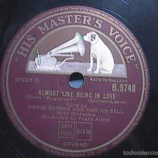 Discos de pizarra: DISCO DE PIZARRA. HIS MASTER VOICE.1930.THE HEATHER ON THE HILL-ALMOST LIKE BEING IN LOVE.BRIGADOON.. Lote 56306076