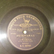 Discos de pizarra: DISCO PARA GRAMOFONO PETENERAS DE EL MOCHUELO GRABADO POR UNA CARA. Lote 56376782
