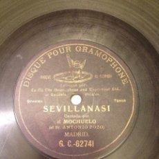 Discos de pizarra: DISCO PARA GRAMOFONO SEVILLANAS I DE EL MOCHUELO GRABADO POR UNA CARA. Lote 56376804