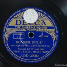 Discos de pizarra: LOUIS LEVY AND HIS MUSIC FROM THE MOVIES - COLE PORTER SUITE - DECCA AGD 3900/3901 - 2XPIZARRAS. Lote 56861393