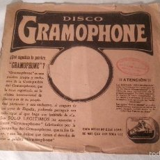 Discos de pizarra: ANTIGUA FUNDA DISCO DE GRAMOFONO PIZARRA ORIGINAL DE LOS AÑOS 30/40 26 CMTS. Lote 57070591