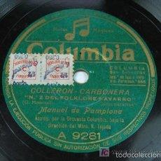 Discos de pizarra: LEVANTATE PAMPLONICA / COLLERON – CARBONERA. MANUEL DE PAMPLONA. NAVARRO. NAVARRA . Lote 57129933