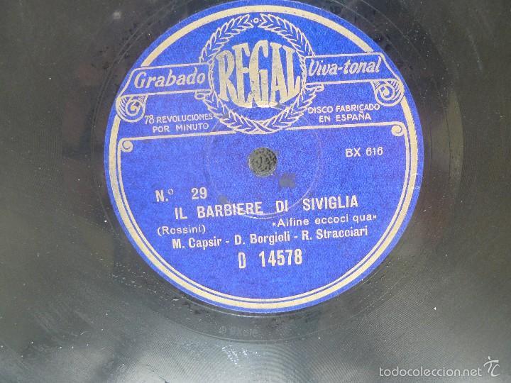 Discos de pizarra: DISCO 30 CM – CAPSIR, BORGIOLI,STRACCIARI - IL BARBIERE DI SIVIGLIA – REGAL – 78 RPM - Foto 4 - 57322843