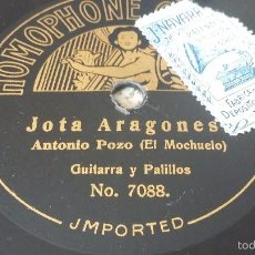 Discos de pizarra: HOMOPHONE ANTONIO POZO (EL MOCHUELO) DISCO DE PIZARRA A UNA SOLA CARA. Lote 57394842