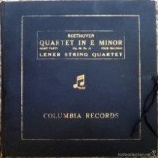 """Discos de pizarra: BEETHOVEN. QUARTET IN E MINOR OP. 59 Nº 2 (LENER). COLUMBIA UK L 1856-1859 78 RPM 12"""" BOX 4 RECORDS. Lote 57721111"""