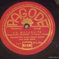 Discos de pizarra: DE LA PELICULA BARNABE - LA MACAQUITA , BARNABE - VALENTINO - PAGODE G5384. Lote 57970158