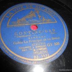 Discos de pizarra: COBLA LA PRINCIPAL DE LA BISBAL CONTINUIDAD CONTINUITAT/LLEVANTINA LEVANTINA 25 CTMS LA VOZ GY320. Lote 58066267