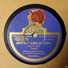Discos de pizarra: DISCO PIZARRA. CARTÓN LIGADO. MIENTRAS LLORA EL TANGO. ORQUESTA TÍPICA ARGENTINA.. Lote 58145421